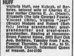 Obituary for Victoria HUFF - Newspapers.com