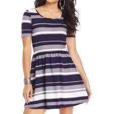 Trixxi Womens Mini Dress Striped Short Sleeves