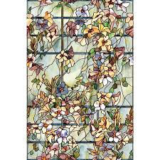 Stained Glass Window Designs For Bathrooms Window Film Trellis Decorative 24 X 36 In Stained Etched Glass Bathroom Privacy