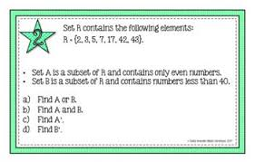 A Complement Venn Diagram Set Theory With Venn Diagrams Task Cards Activity And Or
