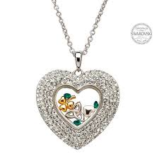 trinity shamrock heart pendant encrusted with swarovski crystals irish expressions gift