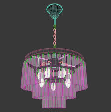 restoration hardware 1920s odeon glass fringe chandelier 3d model max obj fbx mtl 4