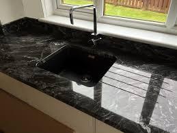 White Granite Kitchen Worktops Kitchen New Forrest Black Granite On High Gloss White Units With
