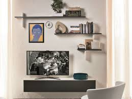 ... Shelving Units For Wall Mounted Tv Square Grey Stayed Rack Strong  Wooden Material Floating Furniture Modern ...