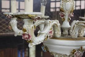 Bildschöner Zauberhafter Antiker Rosen Porzellan Kronleuchter Voll Funktionsfähig Top