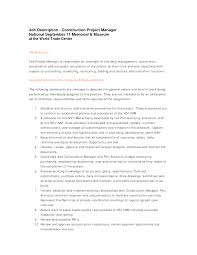 construction and project management specialist resume examples    how became project manager resume job description