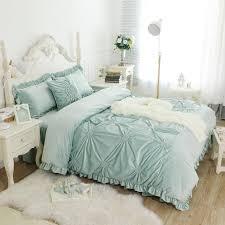 hand work pleated luxury bedding set thick fleece winter bed cover set full queen king size bed skirt duvet cover set pillowcase tie dye bedding sheet set