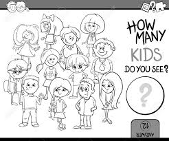 教育幼児塗り絵子供文字と計算タスクの黒と白の漫画イラスト