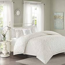 Madison Park Sabrina Comforter Set Full/Queen Size - White, Medallion – 4 Piece Bed Sets – 100% Cotton Teen Bedding for Girls Bedroom