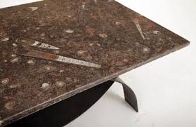 modernist coffee table with fossil stone top 1980s 6