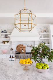 white marble kitchen brass fixtures 15