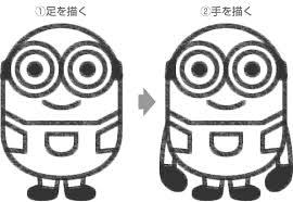 ミニオンの足手を描く 手絵 ミニオンディズニー キャラクター