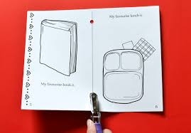 fold the page at the line in the middle you will get a book of 10 pages next punch holes with a hole punch