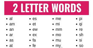 2 letter words list of 100 words that