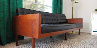 mid century modern couch. Found: A Stunning Mid-century Modern Sofa With Tufted Black Vinyl And Gorgeous Mid Century Couch
