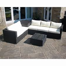 rattan effect corner sofa set with table and storage
