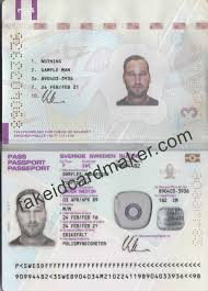 Sweden Virtual Fake Passport Maker - Id Card