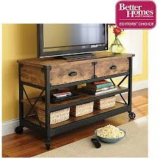 better homes and gardens rustic country antiqued black pine panel tv stand for tvs up