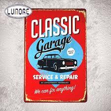 garage car service tin sign wall decor retro classic garage car service repair tin signs metal