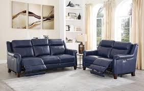 ham blue genuine leather power reclining sofa loveseat set 2 navona hydeline reviews navona