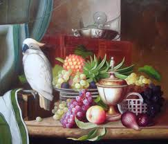the pirate kitchen still life parrot fruit oil painting
