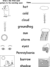 spelling groundhog day crafts worksheets and printable books match words pictures