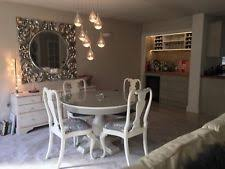 shabby chic round dining table. solid oak extendable round dining table and 4 chairs shabby chic grey/white