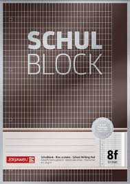 Details About Brunnen 1052608 School Pad Notepad A4 50 Sheets 5 X 7 Mm Top Glued Punched Graph