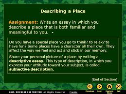 Describe Your Essay Writing Workshop Describing A Place Ppt Video Online Download