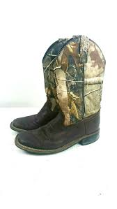 Old West Boots Size Chart Old West Boys Brown Camo Western Cowboy Leather Boots Sz 045 Youth Square Toe Ebay