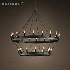 old iron one tier candle chandelier fashionable rustic modernized chandeliers