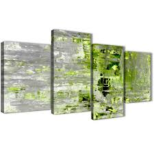 >large lime green grey abstract painting wall art print canvas  oversized large lime green grey abstract painting wall art print canvas split 4 panel 130cm wide display gallery item 1