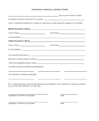 Emergency Contact Forms For Children Emergency Medical Form Template Emergency Room Medical Form Template