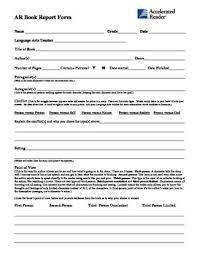 Ar Second Chance Book Report Form For Middle High School Students