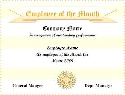 Printable Employee Of The Month Certificates Great Job Certificate Printable Vbhotels Co