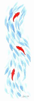 three koi by jasmine ray something like this on the right batik fabric embroider fish maybe salmon watercolour inspired by anese art
