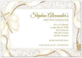 Ribbon And Gold Cross Communion Invitations