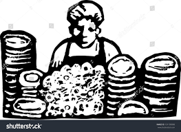 dishwasher clipart black and white. black and white vector illustration of a dishwasher in restaurant clipart
