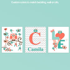 Colors That Match Turquoise 10473 Coral Turquoise Baby Owl Chevron Nursery Decor Precise Bees