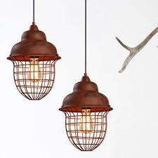 metal rust hanging pendant light urn