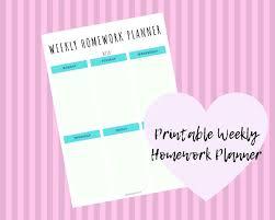 Weekly Homework Weekly Homework Planner