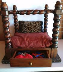 bed end table. Recycled End Table As Canopy Pet Bed - Finished With Drawer Open Showing Leash, T