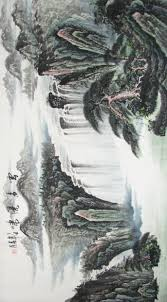 horizontal chinese landscape painting of waterfall scenery 1979 the