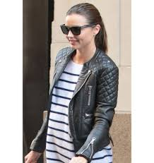 Kerr Quilted Biker Leather Jacket Sale & Miranda Kerr Quilted Biker Leather Jacket Sale Adamdwight.com