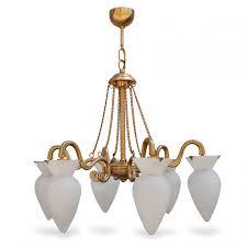 Luster Hängelampe Glas Goldener Design Leuchter