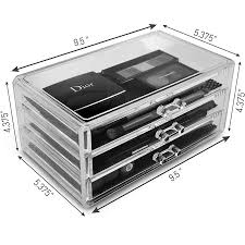 sorbus acrylic cosmetics makeup and jewelry storage case display 3 large and 4 small drawers e saving stylish case great for lipstick eye liner