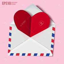 Classic Envelope With Red Heart Paper Valentine Card Inside In