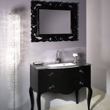bathroom black wooden bathroom vanity on the floor added by rectangle black wooden carving mirror