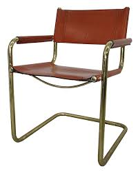 vintage 60 s 70 s cognac color leather dining room chair with brass plated frame 4 in bk