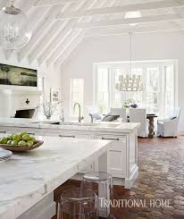 kitchen linear dazzling lights clear ceiling recessed: floor the kitchen living and dining areas are open to one another unified by painted ceiling beams and trusses and terra cotta floor tiles imported from